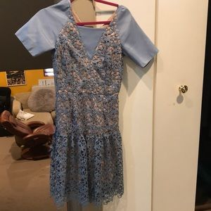 Light blue Knitted dress with tan liner
